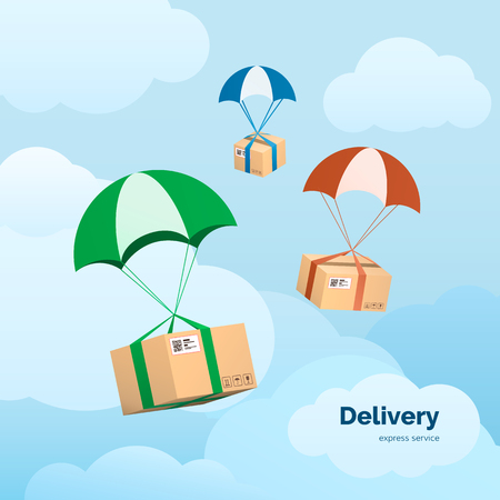 Delivery Services and Commerce. Packages flying on parachutes.