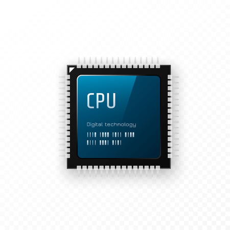 CPU isolated on transparent background. Microchip unit concept, vector illustration. Иллюстрация