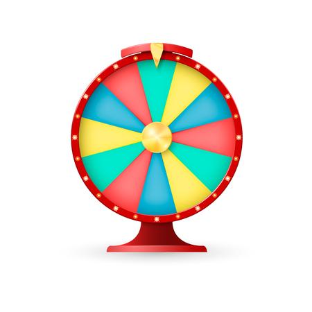 Casino equipment, wheel of fortune. Jackpot lucky winner. Vector illustration on white background.