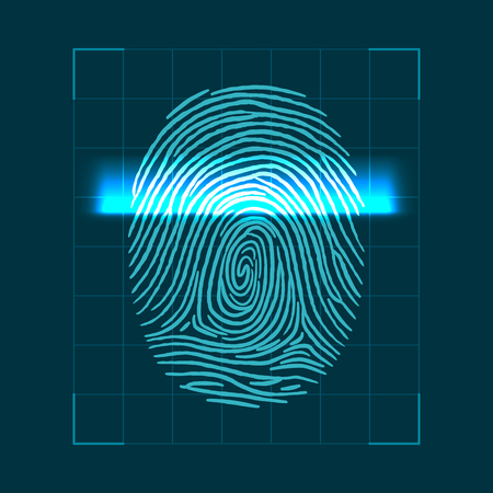 Abstract geometric concept for scanning fingerprints. personal ID verification illustration.