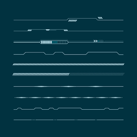 Set of hud lines info-graphic elements. Head-up display elements for the web and app. Futuristic user interface illustration. 일러스트