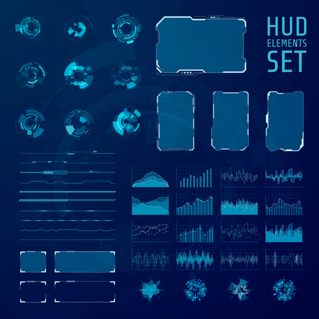 HUD elements collection. Set of graphic abstract futuristic hud panels illustration.