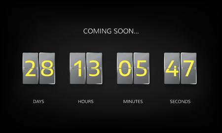 Countdown timer clock counter. Countdown web site flat template. Flip business scoreboard display design. Vector illustration on dark background.