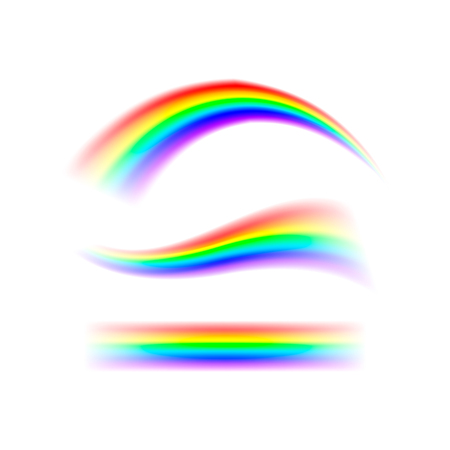 Abstract set rainbow in different shapes. Spectrum of light, seven colors. Vector illustration isolated on white background. Vettoriali