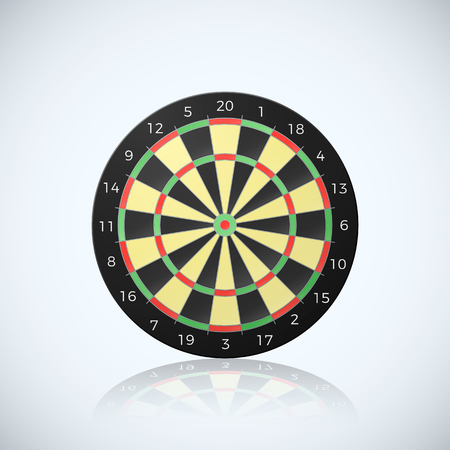Target for darts arrow. Vector illustration of dart board with reflection isolated on white background