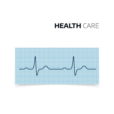 Medical diagnosis of Heartbeat and heart rate. Cardiogram of health Heart. Heartbaet curve on graph paper. Vector illustration