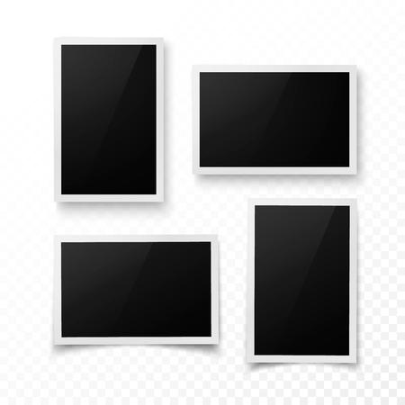 Ensemble de cadre photo avec une ombre. Modèle de bordure réaliste photo, image ou pictere. Photographie vierge. Illustration vectorielle isolée sur fond transparent Vecteurs