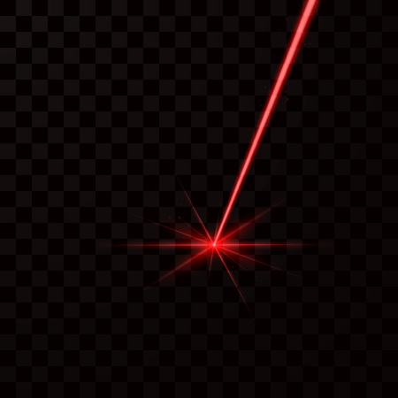 Realistic red laser beam. Red light ray. Vector illustration isolated on dark background 向量圖像