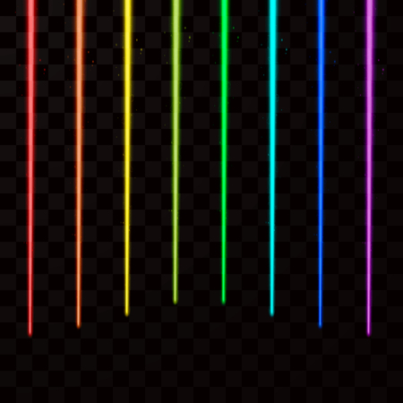 Colorful laser beams. Abstract Laser rays all color of rainbow. Vector illustration
