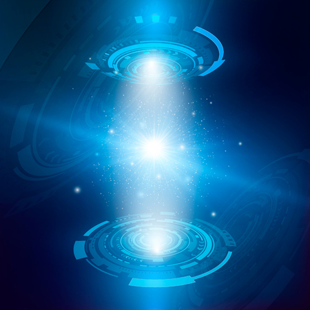 Futuristic hologram concept. Hologram of star system with particles. Abstract digital and technological background. Vector illustration