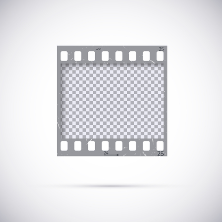 Realistic Frame of 35 mm filmstrip. Empty blanck Photo negative film template. Vector illustration on white background Illustration