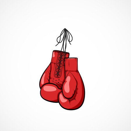 Pair of red hand drawn boxers glovers on a string. Boxers glovers symbol of martial art and sport. Boxing competitions concept. Vector illustration isolated on white background Illustration