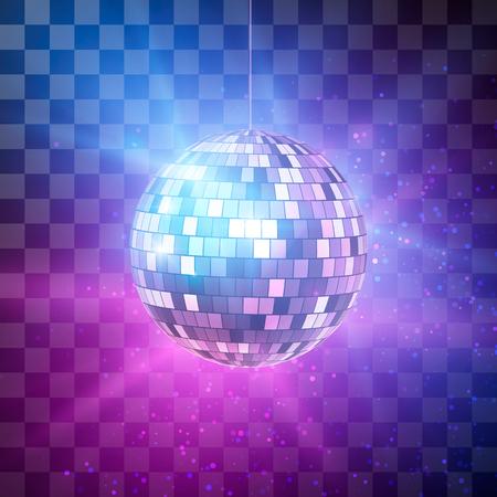 Esfera do disco com raios brilhantes no fundo transparente, fundo retro do partido da noite. Ilustração vetorial Ilustración de vector