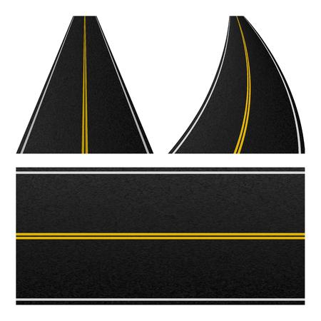 Element of road stripe. Set of marking highway. empty traffic road pattern. Vector illustration