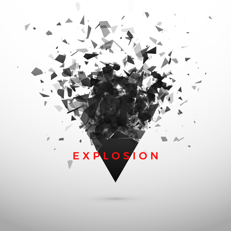 Shatter and destruction dark triangle effect. Abstract cloud of pieces and fragments after explosion. Illustration