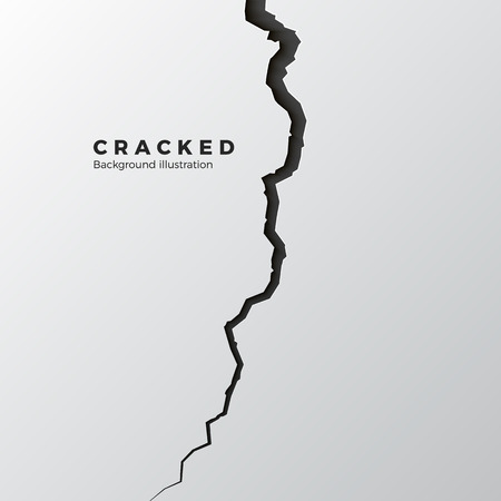 Surface cracked ground. Sketch crack texture. Split terrain after earthquake. Vector illustration
