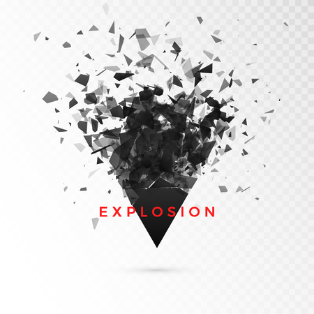 Shatter dark triangle. Abstract cloud of pieces after explosion. Vector illustration isolated on transparent background  イラスト・ベクター素材