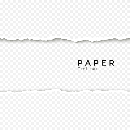 Horizontal seamless torn paper edge. Rough broken border of paper stripe. Vector illustration isolated on transparent background