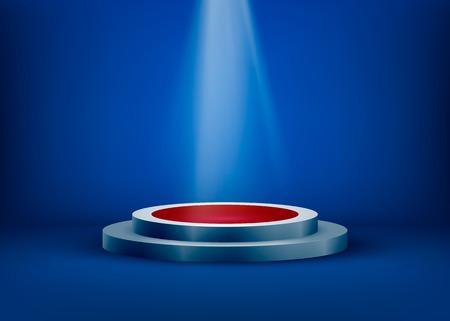 Empty scene is lit by light from a spotlight on a blue background. Spotlight shine on pedestal. Vector illustration. Illustration