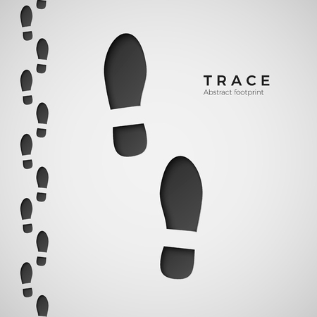 Silhouette of footprint. Trail trodden by boots. Shoe trace. Vector illustration isolated on white background
