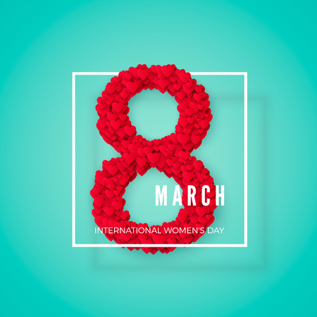 International women day. March 8 greeting  postcard. Website banner concept. Vector illustration  イラスト・ベクター素材