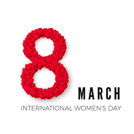 International Happy Womens Day celebration concept. with stylish heart decorated text 8th March on white background. Vector illustration