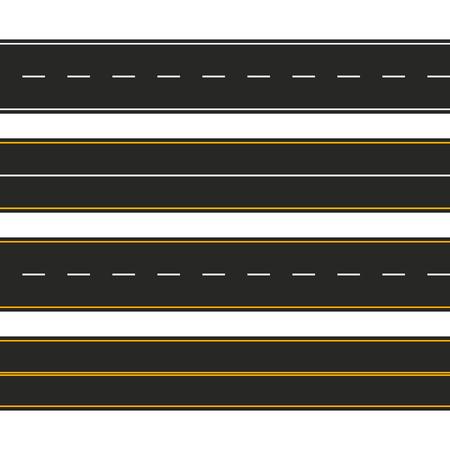 Asphalt. Set of road types with markings. Highway strip template design for infographic. Vector illustration