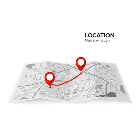 Black and white map with red pointers of the starting point of the route and the final. GPS navigator red color pin checking point to point route. Vector illustration isolated on white background