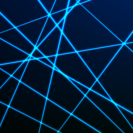 Random Laser Mesh. Security blue beams. Vector illustration isolated on dark background Иллюстрация