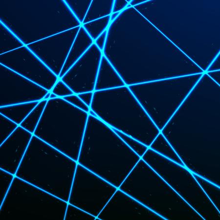 Random Laser Mesh. Security blue beams. Vector illustration isolated on dark background Stock Illustratie