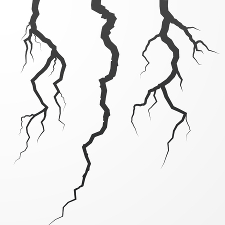 Set of rift and cleft. Split broken surfase. Crack vector illustration isolated on white background Illustration