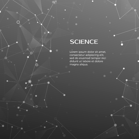 Technology and science background. Polygonal background.  Abstract web and nodes. Plexus atom structure. Vector illustration Vettoriali