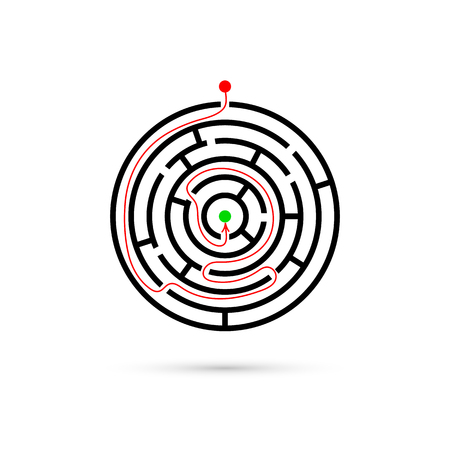 Circular maze with way to center. Business confusion and solution concept. Flat design. Vector illustration on white background Illustration