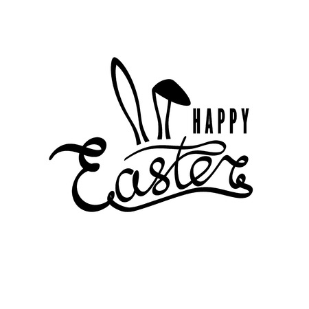 Hand drawn inscription Happy Easter. Easter postcard, card, invitation, poster, banner template lettering typography vector illustration. Illustration