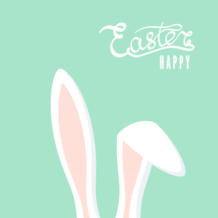 Happy Easter greeting card with rabbit ears. Easter Bunny. Vector illustration