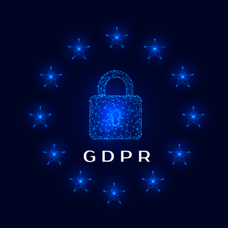 General Data Protection Regulation (GDPR) padlock and stars on dark background. Vector illustration Иллюстрация