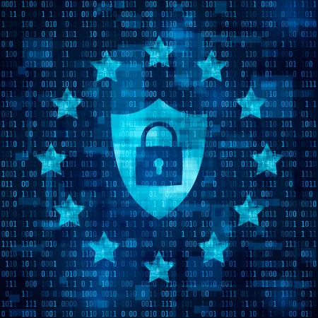 General Data Protection Regulation - GDPR. Shild with padlock, data secure. Stars on blue matrix background. Vector illustration