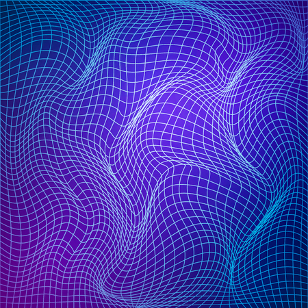 Abstract deformation of grid. Template of grid distort. Wavy mesh structure.