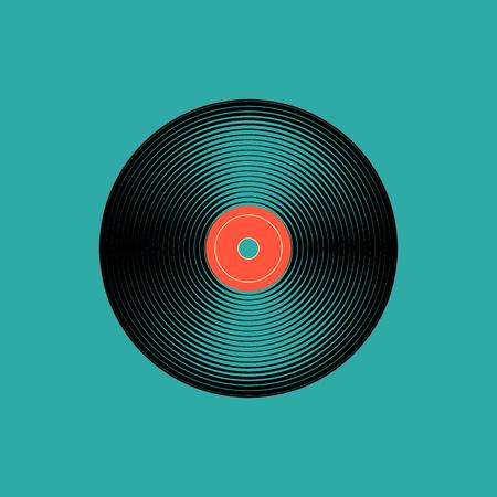 Vinyl music record. vintage gramophone disc. Vector illustration Stock Illustratie