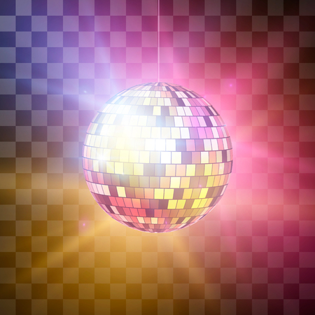 Disco ball with bright rays night party retro backdrop