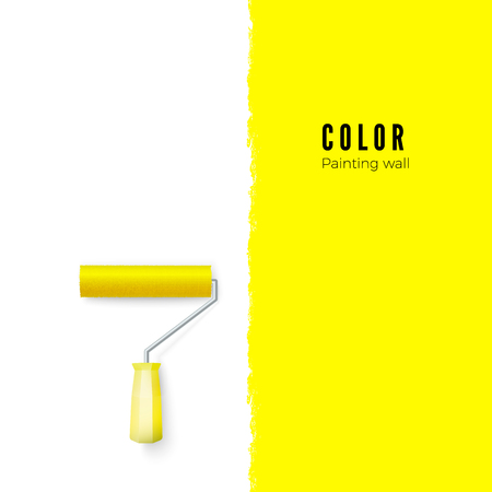 Paint roller with paint and space for text or other design on vertical wall. Vector illustration