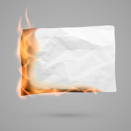 Burning piece of paper with copy space. crumpled paper blank. Crumpled paper texture in fire. Vector illustration isolated on transparent background