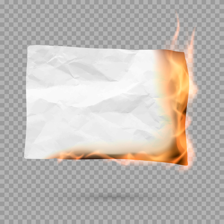 Burning piece of paper with copy space. crumpled paper blank. Vector illustration isolated on transparent background Ilustrace