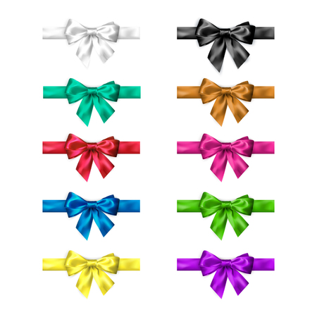 Colorful silk bow set with ribbons. Decoration collection of elegant bows. Bow design different colors. Vector illustration isolated on white background