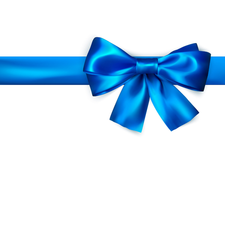 Decorative bow with horizontal blue ribbon. Blue bow for page decor isolated on white background. Vector illustration