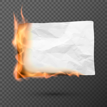 Burning piece of crumpled paper. crumpled empty paper blank. Creased paper texture in fire. Vector illustration isolated on transparent background Stock Illustratie
