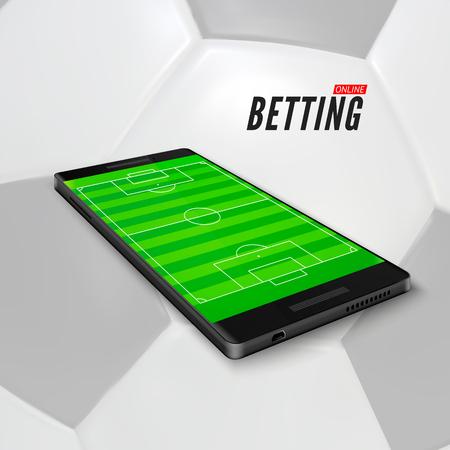 Apuestas deportivas en línea en la aplicación en el teléfono móvil. Campo de fútbol en la pantalla del teléfono inteligente. Banner de apuestas deportivas sobre fondo de pelota de fútbol. Ilustración vectorial