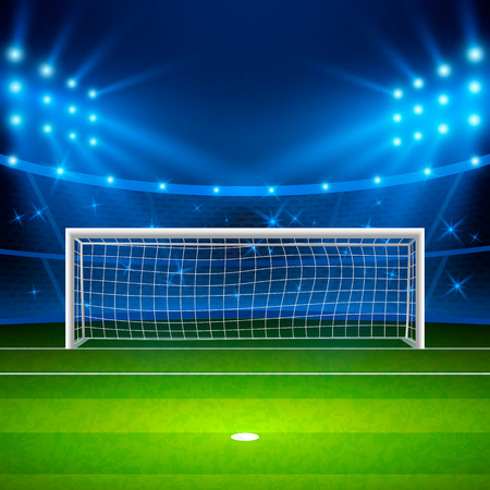 Soccer stadium. Green football field on stadium, arena in night illuminated bright spotlights. Vector illustration