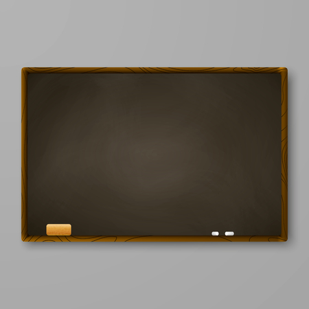 Brown chalkboard on gray wall. Blackboard with chalk and eraser. Vector illustration