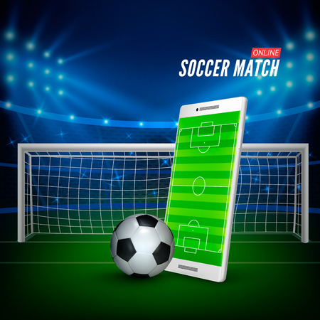 Apuestas deportivas online. Concepto de banner web de apuestas. Fondo de estadio de fútbol y teléfono inteligente con campo de fútbol en pantalla y pelota. Ilustración vectorial Ilustración de vector